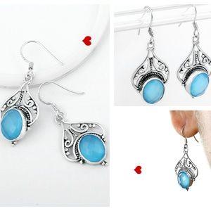 Blue Chalcedony Dangal & Hoop Earrings